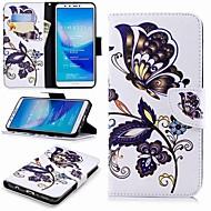 お買い得  携帯電話ケース-ケース 用途 Huawei Y9 (2018)(Enjoy 8 Plus) / Enjoy 7S ウォレット / カードホルダー / スタンド付き フルボディーケース バタフライ ハード PUレザー のために Huawei Y7(Nova Lite+) / Huawei