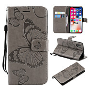Недорогие Кейсы для iPhone 8-Кейс для Назначение Apple iPhone X / iPhone 8 Plus Кошелек / Бумажник для карт / со стендом Чехол Бабочка Твердый Кожа PU для iPhone X /