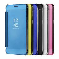 Недорогие Чехлы и кейсы для Galaxy А-Кейс для Назначение SSamsung Galaxy A8 2018 / А5 (2018) Покрытие / Зеркальная поверхность / Флип Чехол Однотонный Твердый Силикон / ПК для
