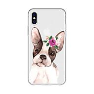 Недорогие Кейсы для iPhone 8 Plus-Кейс для Назначение Apple iPhone X / iPhone 8 Plus С узором Кейс на заднюю панель С собакой / Мультипликация / Цветы Мягкий ТПУ для