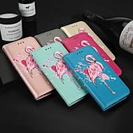 Недорогие Чехлы и кейсы для Galaxy J-Кейс для Назначение SSamsung Galaxy J6 / J4 Бумажник для карт / со стендом / Флип Чехол Фламинго Твердый Кожа PU для J6 / J4