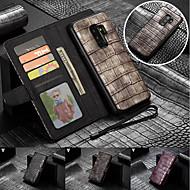 Недорогие Чехлы и кейсы для Galaxy S9 Plus-Кейс для Назначение SSamsung Galaxy S9 Plus / S9 Кошелек / Бумажник для карт / со стендом Чехол Однотонный Твердый Настоящая кожа для S9 / S9 Plus