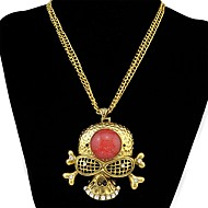 cheap -Women's Skull Rhinestone Pendant Necklace  -  Vintage / Fashion / Statement Gold / Silver 84cm Necklace For Daily / Ceremony / Women's