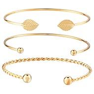 hesapli Mücevher&Saatler-Bilezikler Halhallar - Leaf Shape Moda Bilezikler Altın Uyumluluk Günlük Cadde / 3adet