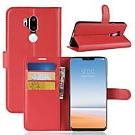 お買い得  携帯電話ケース-ケース 用途 LG K10 2018 / G7 ウォレット / カードホルダー / フリップ フルボディーケース ソリッド ハード PUレザー のために LG X venture / LG V30 / LG V20