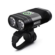 cheap Flashlights, Lanterns & Lights-Bike Lights Dual LED Cycling Portable / Waterproof / Quick Release Li-polymer 2400lm Lumens White Camping / Hiking / Caving / Cycling /