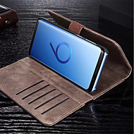 Недорогие Чехлы и кейсы для Galaxy S7 Edge-Кейс для Назначение SSamsung Galaxy S9 Plus / S9 Кошелек / Бумажник для карт / Флип Чехол Однотонный Твердый Кожа PU для S9 / S9 Plus /