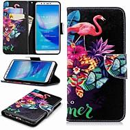 お買い得  携帯電話ケース-ケース 用途 Huawei Y9 (2018)(Enjoy 8 Plus) / Enjoy 7S ウォレット / カードホルダー / スタンド付き フルボディーケース フラミンゴ ハード PUレザー のために Huawei Y7(Nova Lite+) / Huawei