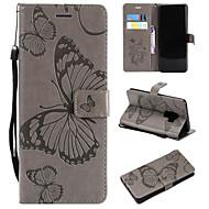 Недорогие Чехлы и кейсы для Galaxy S6 Edge Plus-Кейс для Назначение SSamsung Galaxy S9 Plus / S9 Кошелек / Бумажник для карт / со стендом Чехол Бабочка Твердый Кожа PU для S9 / S9 Plus