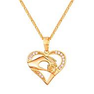 ieftine -Zirconiu Cubic diamant mic Coliere cu Pandativ Mama fiica Inimă Hollow Heart femei Modă Articole de ceramică Auriu Argintiu Roz auriu 55 cm Coliere Bijuterii Pentru Zilnic