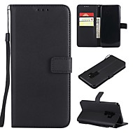 Недорогие Чехлы и кейсы для Galaxy S-Кейс для Назначение SSamsung Galaxy S9 Plus / S9 Кошелек / Бумажник для карт / Флип Чехол Однотонный Твердый Кожа PU для S9 / S9 Plus / S8 Plus