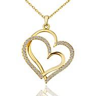 お買い得  -女性用 キュービックジルコニア ペンダントネックレス  -  ゴールドメッキ ハート ファッション ゴールド, ホワイト, ローズゴールド 45+5 cm ネックレス 1個 用途 贈り物, 日常