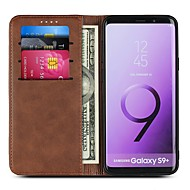 cheap -Case For Samsung Galaxy S9 Plus / S9 Wallet / Card Holder / Flip Full Body Cases Solid Colored Hard PU Leather for S9 / S9 Plus / S8 Plus