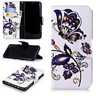 Недорогие Чехлы и кейсы для Galaxy S8 Plus-Кейс для Назначение SSamsung Galaxy S9 Plus / S9 Кошелек / Бумажник для карт / со стендом Чехол Бабочка Твердый Кожа PU для S9 / S9 Plus