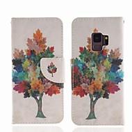 Недорогие Чехлы и кейсы для Galaxy S9-Кейс для Назначение SSamsung Galaxy S9 Кошелек / Бумажник для карт / со стендом Чехол дерево Твердый Кожа PU для S9