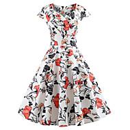 cheap -Women's Party Birthday Basic Mini Slim Sheath Dress - Geometric U Neck Spring Cotton White L XL XXL