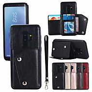 Недорогие Чехлы и кейсы для Galaxy S-Кейс для Назначение SSamsung Galaxy S9 Plus / S9 Бумажник для карт Чехол Однотонный Твердый Кожа PU для S9 / S9 Plus / S8 Plus