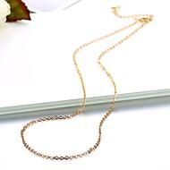 お買い得  -女性用 シングルストランド チェーンネックレス  -  ゴールドメッキ シンプル, ベーシック, ファッション かわいい ゴールド, シルバー 46 cm ネックレス ジュエリー 1個 用途 日常, ワーク