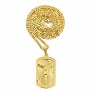 Ανδρικά Κομψό Κουβανική σύνδεση Κρεμαστά Κολιέ Κολιέ με Αλυσίδα Τιτάνιο Ατσάλι Ανοξείδωτος Γράμμα Πίστη Μοναδικό Ευρωπαϊκό Χιπ-Χοπ Απίθανο Χρυσό Ασημί 60 cm Κολιέ Κοσμήματα 1pc Για Δρόμος Φεστιβάλ