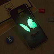 Недорогие Чехлы и кейсы для Galaxy J7(2016)-Кейс для Назначение SSamsung Galaxy iPhone X / iPhone 8 Plus / J6 Сияние в темноте / IMD / С узором Кейс на заднюю панель Бабочка Мягкий ТПУ для J8 / J7 (2017) / J7 (2016)