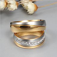 Páros Kocka cirkónia Kéttónusú Páros gyűrűk forgó gyűrű Titanium Acél Barátság hölgyek Divat Elegáns Csing Csing Minden nap Divatos gyűrű Ékszerek Arany Kompatibilitás Esküvő Eljegyzés Ünnepség