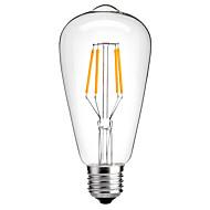 お買い得  -HRY 1個 4W 360lm E26 / E27 フィラメントタイプLED電球 ST64 4 LEDビーズ COB 装飾用 温白色 クールホワイト 220-240V