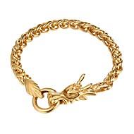ieftine Bijuterii&Ceasuri-Bărbați Link / Lanț Brățară - Teak Dragon Modă Brățări Auriu / Negru / Argintiu Pentru Cadou Zilnic