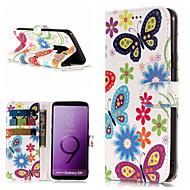 Недорогие Чехлы и кейсы для Galaxy S9 Plus-Кейс для Назначение SSamsung Galaxy S9 Plus / S9 Кошелек / Бумажник для карт / со стендом Чехол Бабочка / Цветы Твердый Кожа PU для S9 / S9 Plus / S8 Plus