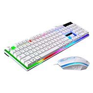 abordables Combo de Ratón y Teclado-Cable Combo de teclado de mouse Creativo Operado con baterías teclado mecánico ratón para juegos 1200 dpi 3 pcs