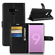 Недорогие Чехлы и кейсы для Galaxy Note 8-Кейс для Назначение SSamsung Galaxy Note 9 / Note 8 Кошелек / Бумажник для карт / Флип Чехол Однотонный Твердый Кожа PU для Note 9 / Note 8