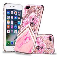 Недорогие Кейсы для iPhone 8 Plus-Кейс для Назначение Apple iPhone X / iPhone 8 Plus Прозрачный / С узором Кейс на заднюю панель Цветы / Мрамор Мягкий ТПУ для iPhone X / iPhone 8 Pluss / iPhone 8