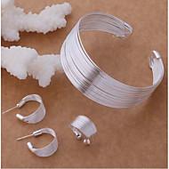 Dámské Vícevrstvé Stylové Šperky Set S925 Sterling Silver kreativita dámy, stylové, Jedinečný design, Elegantní Zahrnout Široké náramky Náušnice - Kruhy Otevřete kruh Stříbrná Pro Párty Festival