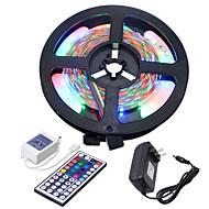 abordables Tiras de Luces LED-HKV 5 m Tiras LED Flexibles / Sets de Luces 300 LED 3528 SMD Controlador remoto de 1 44 teclas / Adaptador de corriente 1 x 2A RGB Cortable / Conectable / Auto-Adhesivas 100-240 V