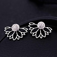 cheap Floral Jewelry-Women's Hollow Out Stud Earrings / Front Back Earrings / Ear Jacket - Crystal Flower Gold / Silver For Christmas Gifts / Wedding / Party
