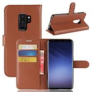 Недорогие Чехлы и кейсы для Galaxy S9-Кейс для Назначение SSamsung Galaxy S9 Plus / S9 Кошелек / Бумажник для карт / со стендом Чехол Однотонный Твердый Кожа PU для S9 / S9 Plus / S8 Plus