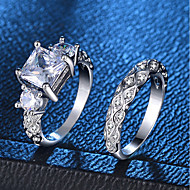 cheap -Women's Hollow Out Ring Ring Set - Platinum Plated, Imitation Diamond Love, Wave Romantic, Fashion, French 6 / 7 / 8 / 9 / 10 Silver For Party Engagement / 2pcs