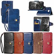 Недорогие Чехлы и кейсы для Galaxy Note-Кейс для Назначение SSamsung Galaxy Note 9 / Note 8 Кошелек / Бумажник для карт / со стендом Чехол Однотонный Твердый Кожа PU для Note 9 / Note 8 / Note 5