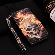 Недорогие Чехлы и кейсы для Galaxy S9-Кейс для Назначение SSamsung Galaxy S9 Plus / S9 Кошелек / Бумажник для карт / со стендом Чехол Черепа Твердый Кожа PU для S9 / S9 Plus / S8 Plus