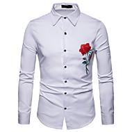 남성용 솔리드 / 플로럴 / 컬러 블럭 슬림 자수 장식 - 셔츠, 사업 / 베이직 작동 / 긴 소매