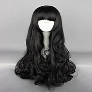 お買い得  -人工毛ウィッグ / コスチュームウィッグ ウェーブ バング付き 合成 ブラック かつら 女性用 非常に長いです キャップレス ブラック hairjoy