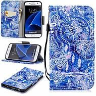 Недорогие Чехлы и кейсы для Galaxy S7-Кейс для Назначение SSamsung Galaxy S7 Кошелек / Бумажник для карт / со стендом Чехол Ловец снов Твердый Кожа PU для S7