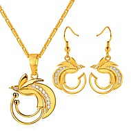 cheap -Women's White AAA Cubic Zirconia Hollow Out Jewelry Set - Bird Fashion Include Hoop Earrings Pendant Necklace Gold For Gift Daily