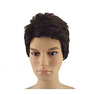 お買い得  -人工毛ウィッグ ストレート ピクシーカット 合成 8 インチ ソフト / 耐熱 / 合成 ブラック かつら 男性用 ショート キャップレス Black / Brown hairjoy