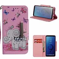 Недорогие Чехлы и кейсы для Galaxy S9-Кейс для Назначение SSamsung Galaxy S9 Кошелек / Бумажник для карт / со стендом Чехол Бабочка / Слон Твердый Кожа PU для S9