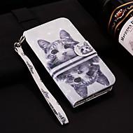 Недорогие Чехлы и кейсы для Galaxy А-Кейс для Назначение SSamsung Galaxy A6+ (2018) / A6 (2018) Кошелек / Бумажник для карт / со стендом Чехол Кот Твердый Кожа PU для A5(2018) / A6 (2018) / A6+ (2018)
