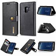 Недорогие Чехлы и кейсы для Galaxy S9 Plus-Кейс для Назначение SSamsung Galaxy S9 Plus / S9 Кошелек / Бумажник для карт / со стендом Чехол Однотонный Твердый Настоящая кожа для S9 / S9 Plus / S8 Plus