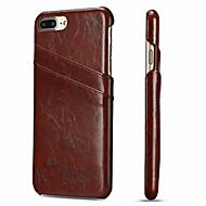 Недорогие Кейсы для iPhone 8 Plus-Fierre Shann Кейс для Назначение Apple iPhone 8 Plus / iPhone 7 Plus Бумажник для карт Кейс на заднюю панель Однотонный Твердый Настоящая кожа для iPhone 8 Pluss / iPhone 7 Plus