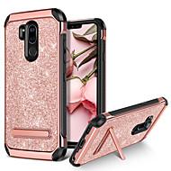 お買い得  携帯電話ケース-BENTOBEN ケース 用途 LG G7 / LG G7 ThinQ 耐衝撃 / スタンド付き / メッキ仕上げ バックカバー キラキラ仕上げ ハード PUレザー / TPU / PC のために LG G7 / LG G7 ThinQ