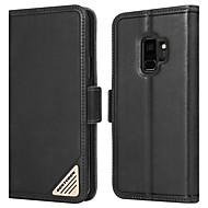 Недорогие Чехлы и кейсы для Galaxy S-BENTOBEN Кейс для Назначение SSamsung Galaxy S9 Защита от удара / со стендом / Флип Чехол Однотонный Твердый Настоящая кожа / ПК для S9