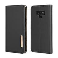 Недорогие Чехлы и кейсы для Galaxy Note-BENTOBEN Кейс для Назначение SSamsung Galaxy Note 9 Защита от удара / со стендом / Флип Чехол Однотонный Твердый Настоящая кожа / ПК для Note 9
